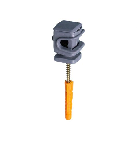 Держатель проводника круглого 6-8 мм серый, высота 16 мм, пластик с дюбелем 38 мм
