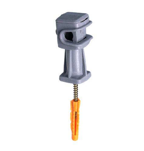 Держатель проводника круглого 6-8 мм серый, высота 36 мм, пластик с дюбелем 38 мм