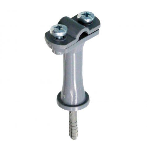 Держатель проводника круглого 6-10 мм серый, высота 59 мм, пластик с дюбелем 45 мм