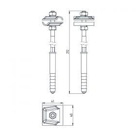 Держатель-зажим соединительный круглого проводника 8-10 мм для бетонного фасада, оцинк.