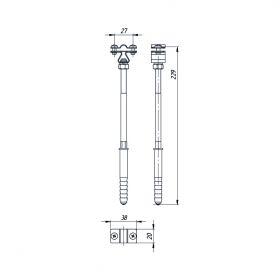 Держатель проводника круглого 8-10 мм для бетонного фасада, медь