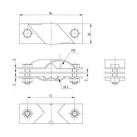 Зажим заземления стержень — полоса/пруток диагональный, латунь