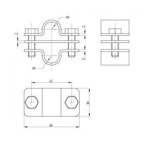 Зажим соединительный стержень 16 мм — стержень параллельный, латунь