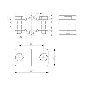 Зажим соединительный пруток — пруток параллельный, латунь