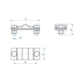 Зажим соединительный полоса/пруток — полоса параллельный, оцинк.