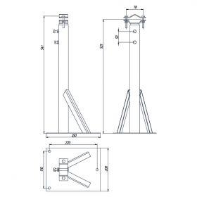 Кронштейн для мачты 500-800 мм телескопический, сталь