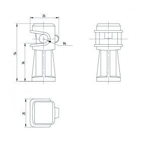 Держатель проводника круглого 6-8 мм белый, высота 36 мм, пластик