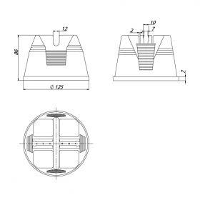 Держатель проводника круглого 8-10 мм для плоской мембранной кровли, пластик