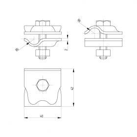 Зажим соединительный круглого проводника 8-10 мм, медь