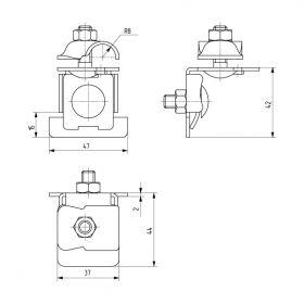 Держатель проводника круглого 6-10 мм для фальца 0.7-8 мм, медь