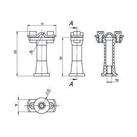 Держатель проводника круглого 6-10 мм серый, высота 59 мм, пластик