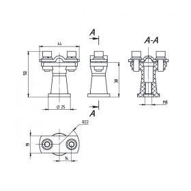 Держатель проводника круглого 6-10 мм коричневый, высота 38 мм, пластик