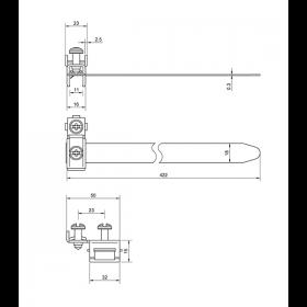 Хомут заземления ленточный 20-115 мм, медь никелированная