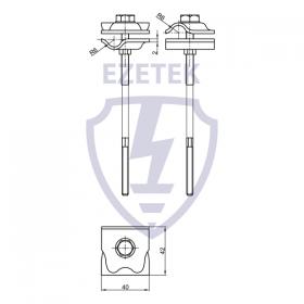 Держатель-зажим соединительный круглого проводника 8-10 мм для деревянного фасада, оцинк.