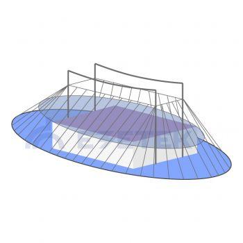 Расчет зоны молниезащиты двойного тросового молниеотвода (h<150 м)