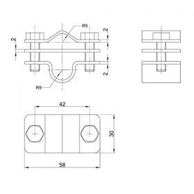 Зажим соединительный пруток — стержень 16 мм параллельный, оцинк.