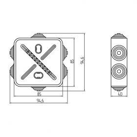 Коробка уравнивания потенциалов 7 подключений 85х85х40 мм
