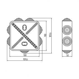 Коробка уравнивания потенциалов 13 подключений 100х100х50 мм