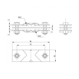 Зажим заземления полоса/пруток — полоса/пруток диагональный, латунь