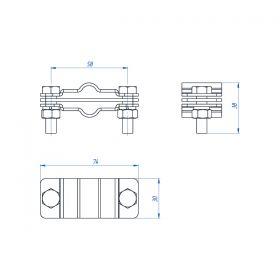 Зажим соединительный полоса/пруток — полоса/пруток параллельный, оцинк.
