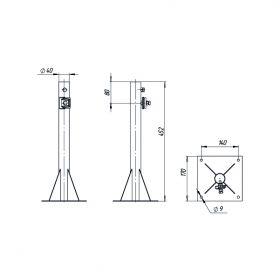 Держатель мачты 40 мм для плоской кровли опорный, стальной.