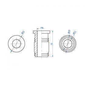 Гайка запрессовочная М16 28 мм для молниеприемника