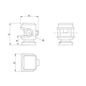 Держатель проводника круглого 6-8 мм серый, высота 16 мм, пластик