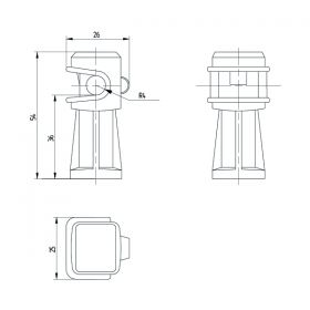Держатель проводника круглого 6-8 мм коричневый, высота 36 мм, пластик
