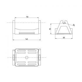 Держатель проводника круглого 8 мм для плоской кровли, пластик с бетоном