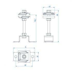 Держатель-зажим соединительный круглого проводника 8-12 мм опорный, оцинк.