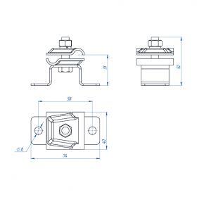 Держатель-зажим соединительный круглого проводника 8-10 мм, оцинк.