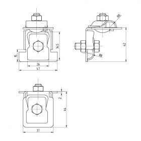 Держатель проводника круглого 6-10 мм для фальца 0.7-8 мм универсальный, оцинк.