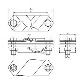Зажим заземления стержень — полоса/пруток диагональный, нерж.